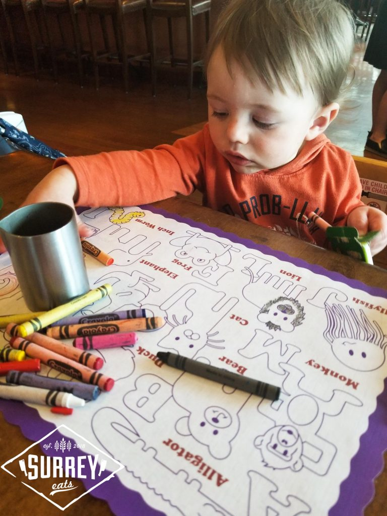Children colouring pages at Central City Brewpub