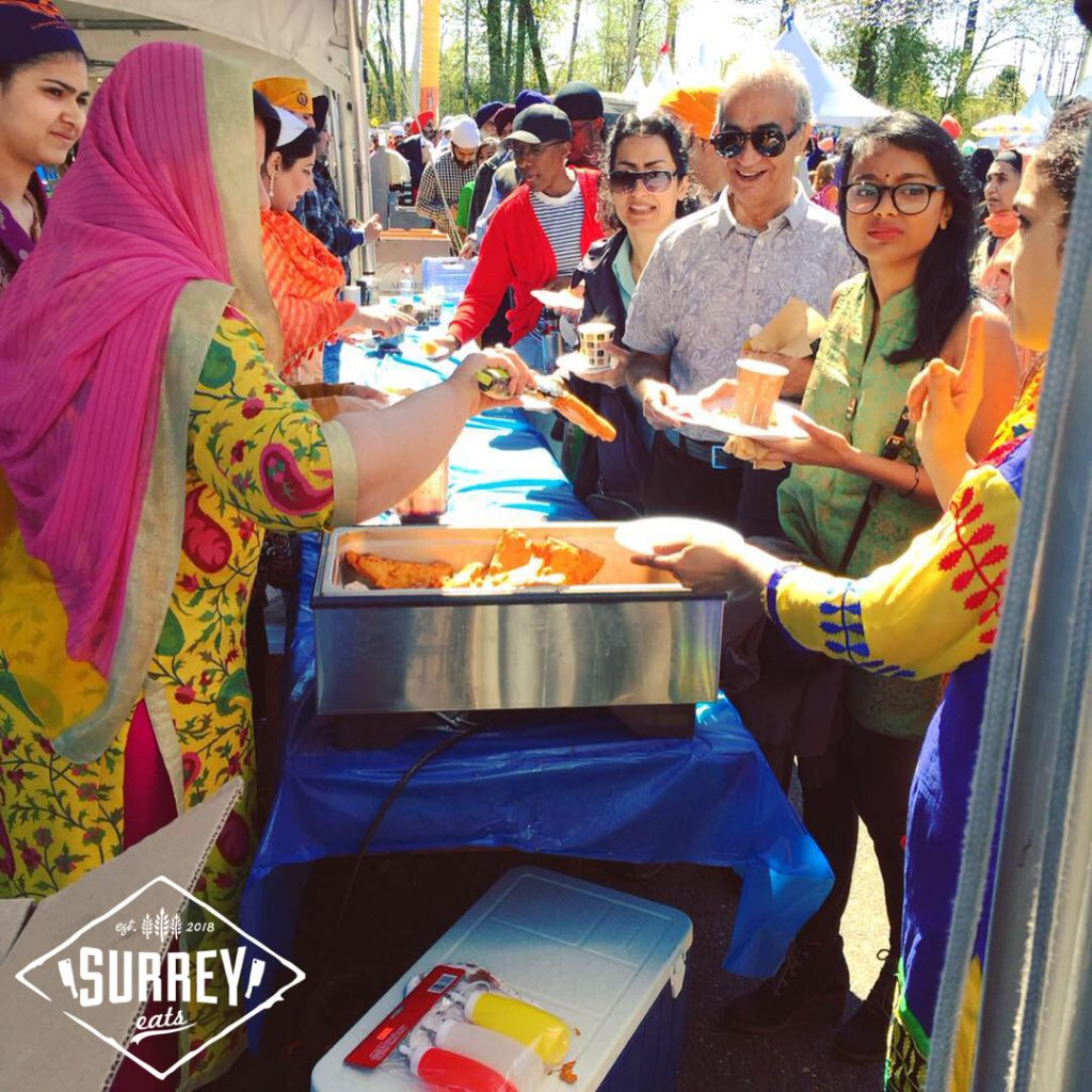 People lined up for food at Vaisakhi in Surrey, BC