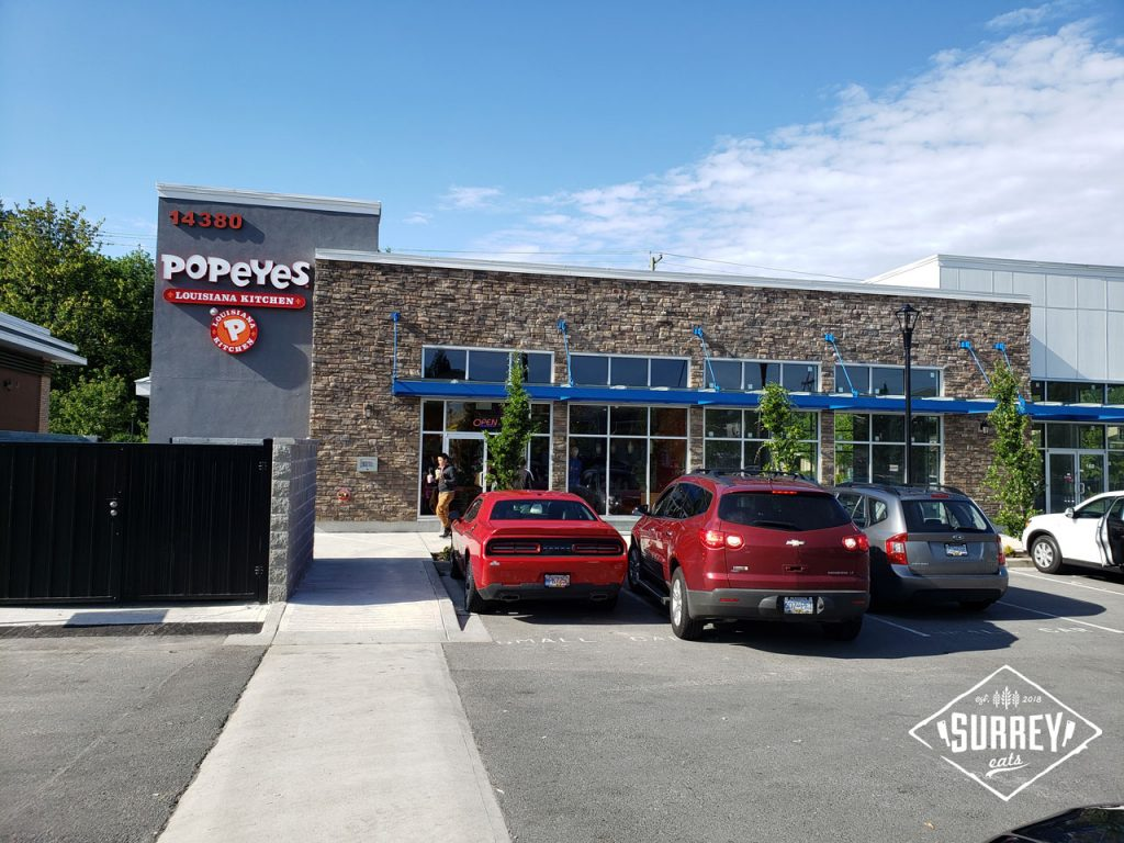 The exterior of Popeyes Louisiana Kitchen's Surrey location