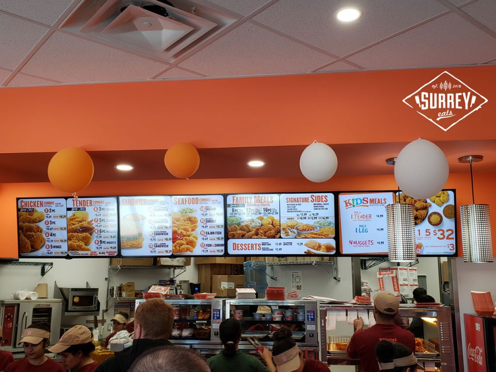 The menu for Popeyes Louisiana Kitchen's Surrey location