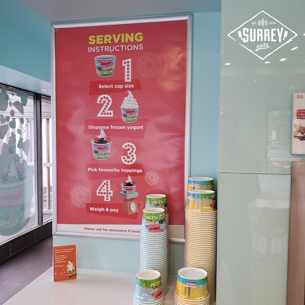 Tutti Frutti serving instructions poster