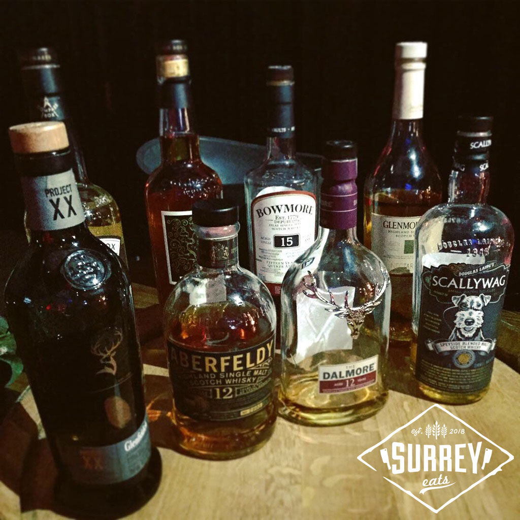 A variety of whiskeys from the Whiskey Tasting Bar at the Variety charity gala