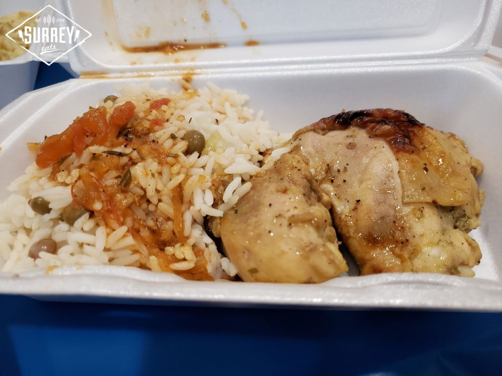 Bajan Roasted Chicken with rice and peas