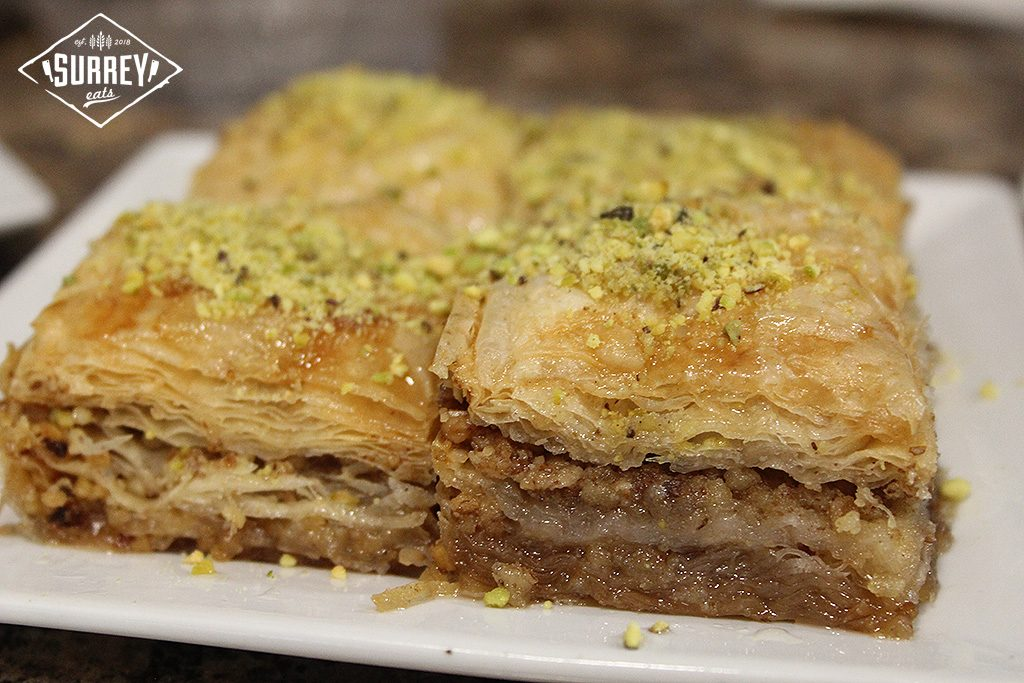 A close-up shot of baklava.