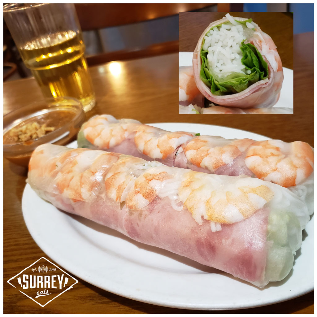 Shrimp and ham salad rolls with tea and hoisin sauce