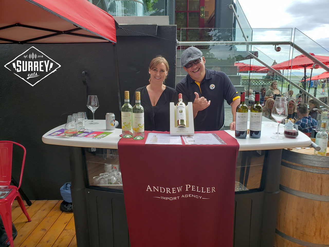 An outdoor bar at Cotto al Mare with Andrew Peller wine and M.O Fruitsecco coolers
