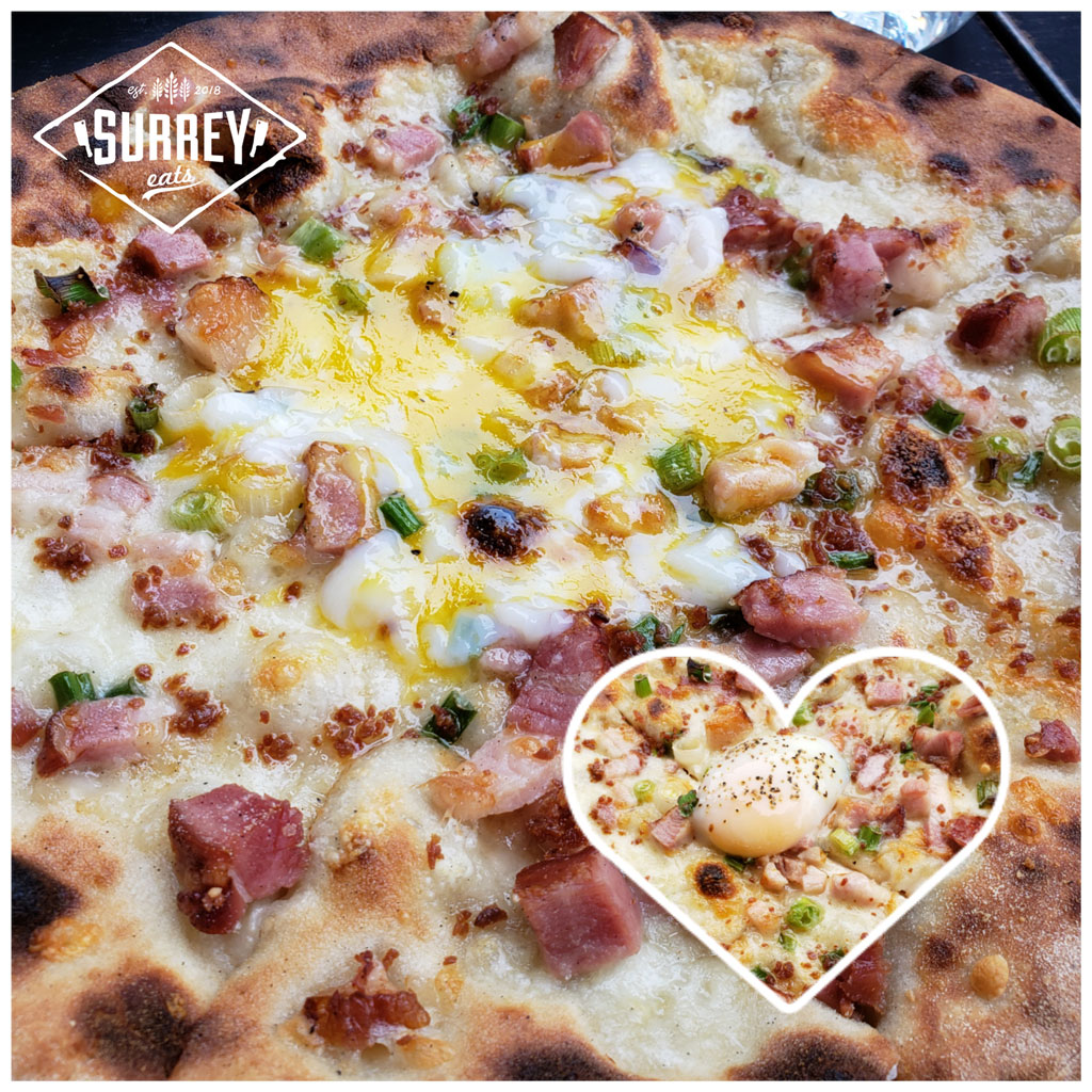 Pizza Carbonara topped with a 63 degree egg. In the main photo the egg has been broken and spread over the pizza, in a heart-shaped picture-in-picture the egg is shown close-up and intact
