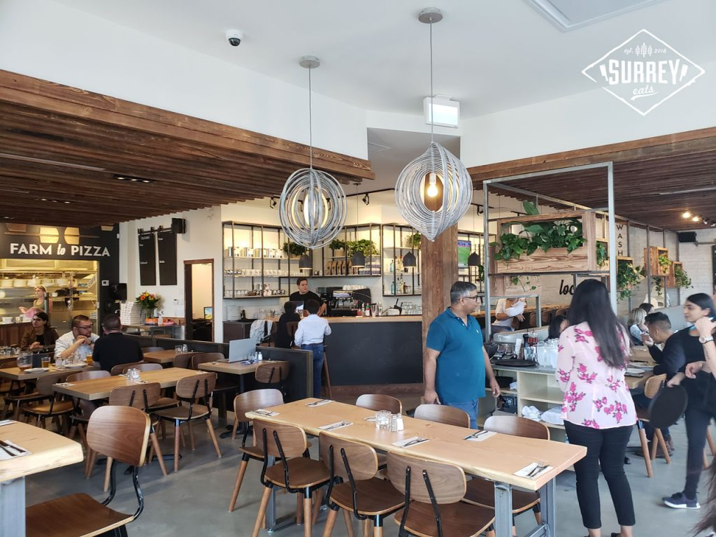 An interior shot of Rocky Mountain Flatbread's Surrey location
