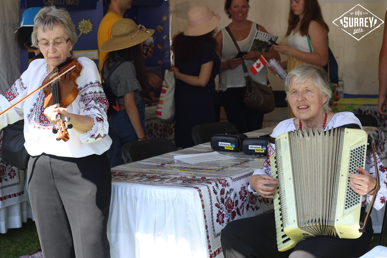 Ukrainian women playing accordion and some type of fiddle thing
