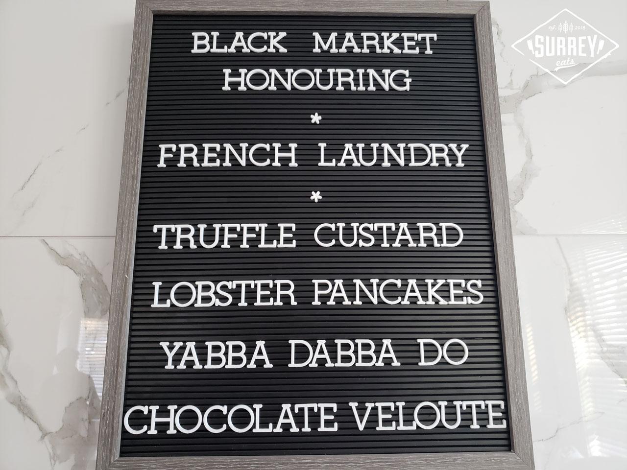 Black Market Supper Club menu