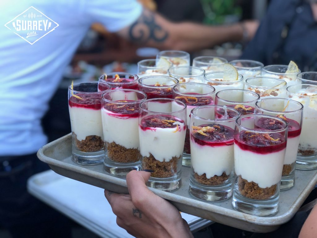 Desserts being served on a tray