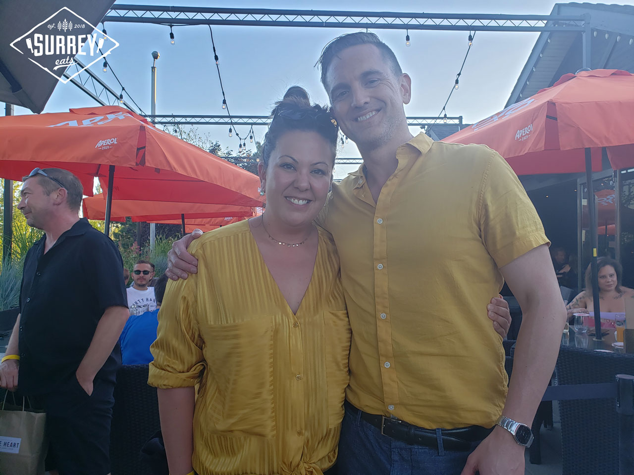 Kamiko from Surrey Eats and Daman from Surrey 604 in yellow shirts