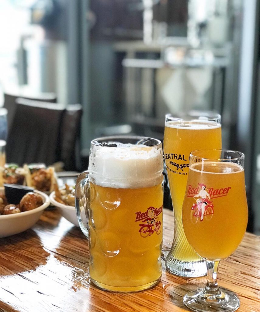 Oktoberfest beer stein and glasses