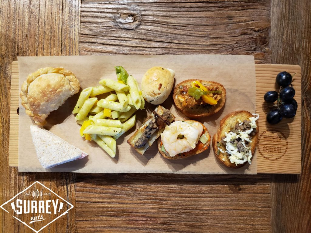 Tapas selection on a wooden board