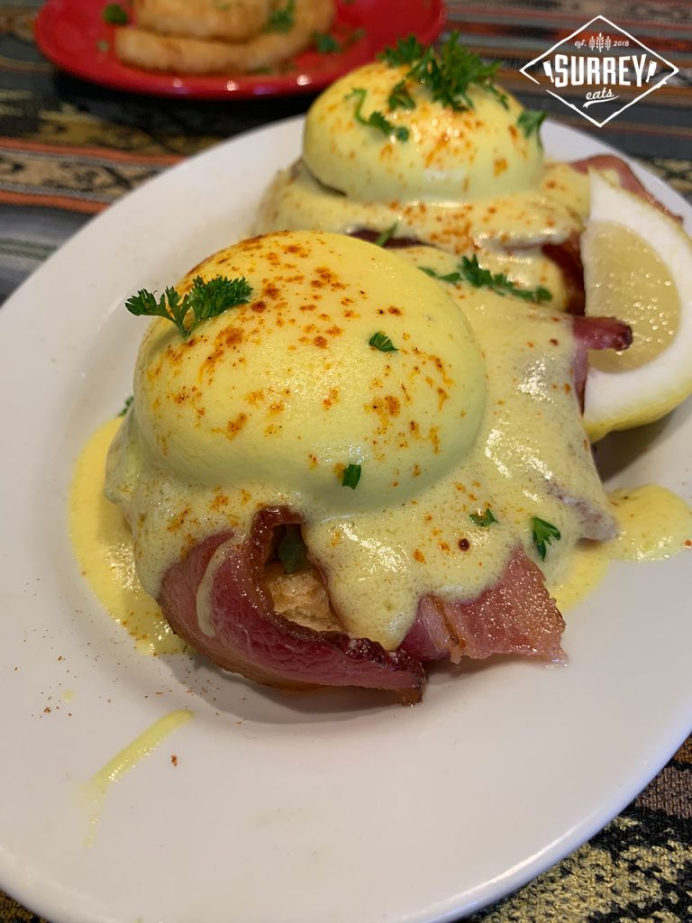 A close-up of The Dudes classic Eggs Benny