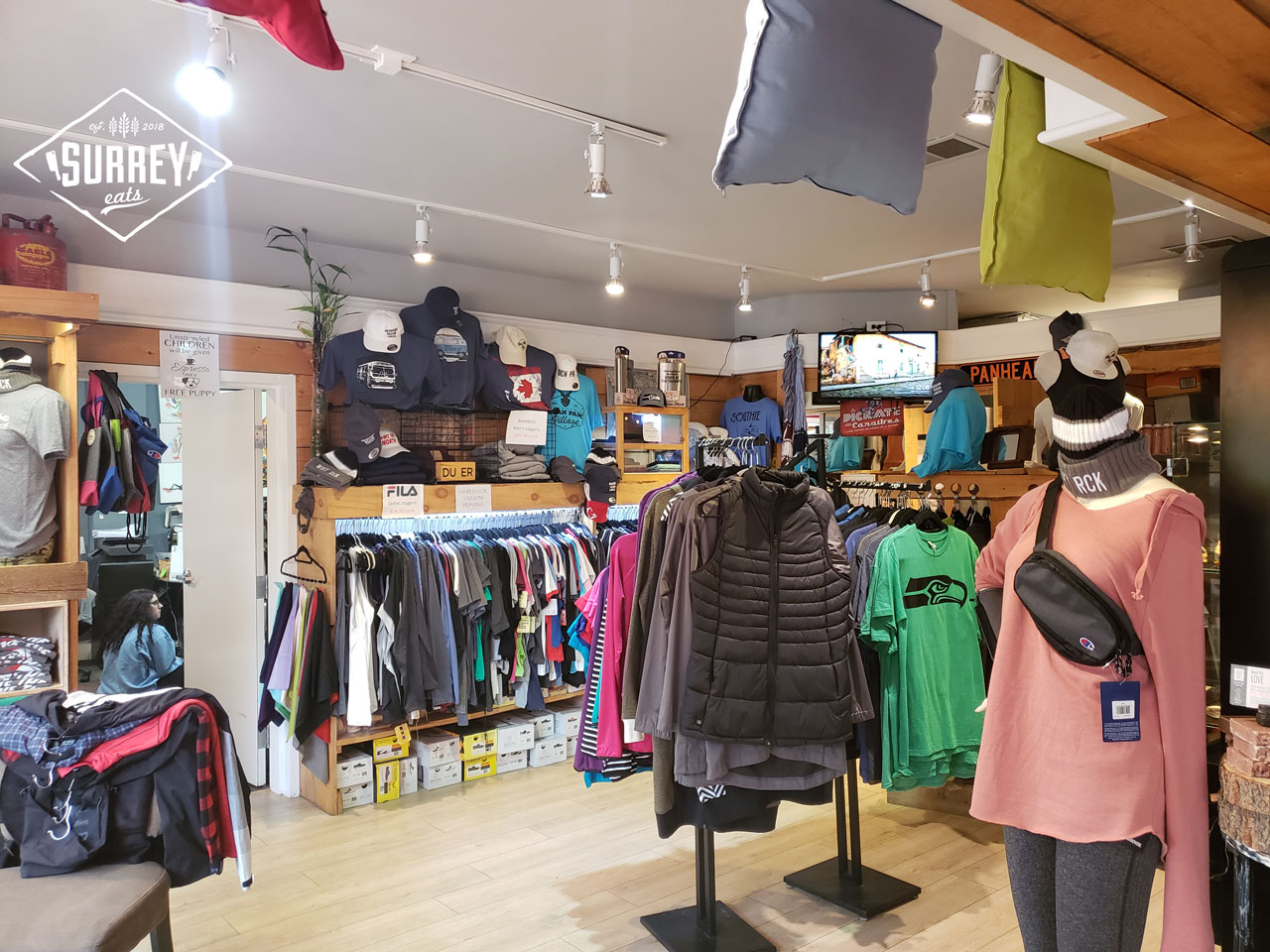 The interior of Ethical Addiction custom apparel shop