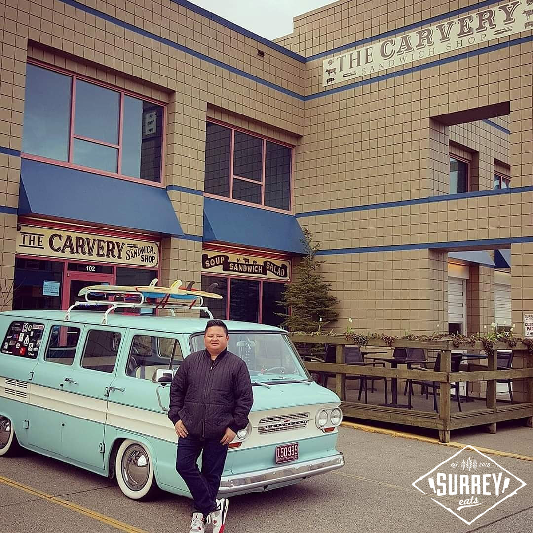 Bryan from The Carvery Sandwich Shop poses out front of his shop