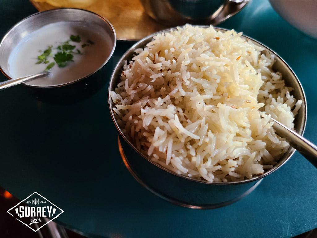 Raita with cumin rice