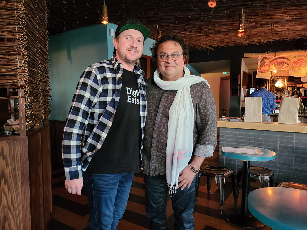 Craig from Surrey Eats with Vikram Vij, owner of My Shanti restaurant