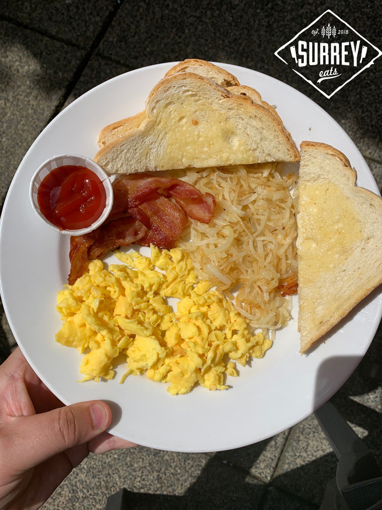 Brewster's Pub Breakfast special with bacon, eggs, toast and hashbrowns