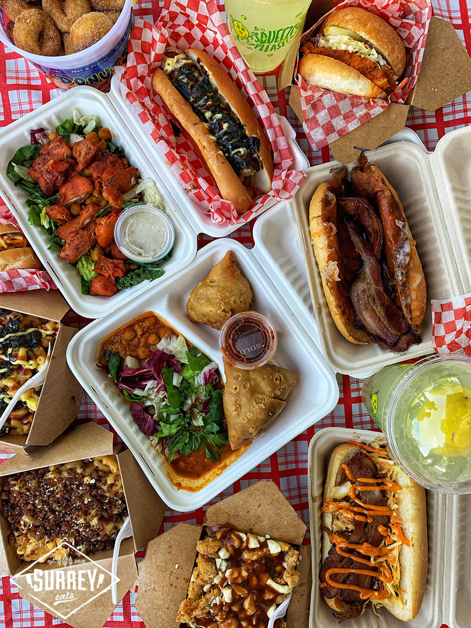 spread of food from Cloverdale food truck festival 2020