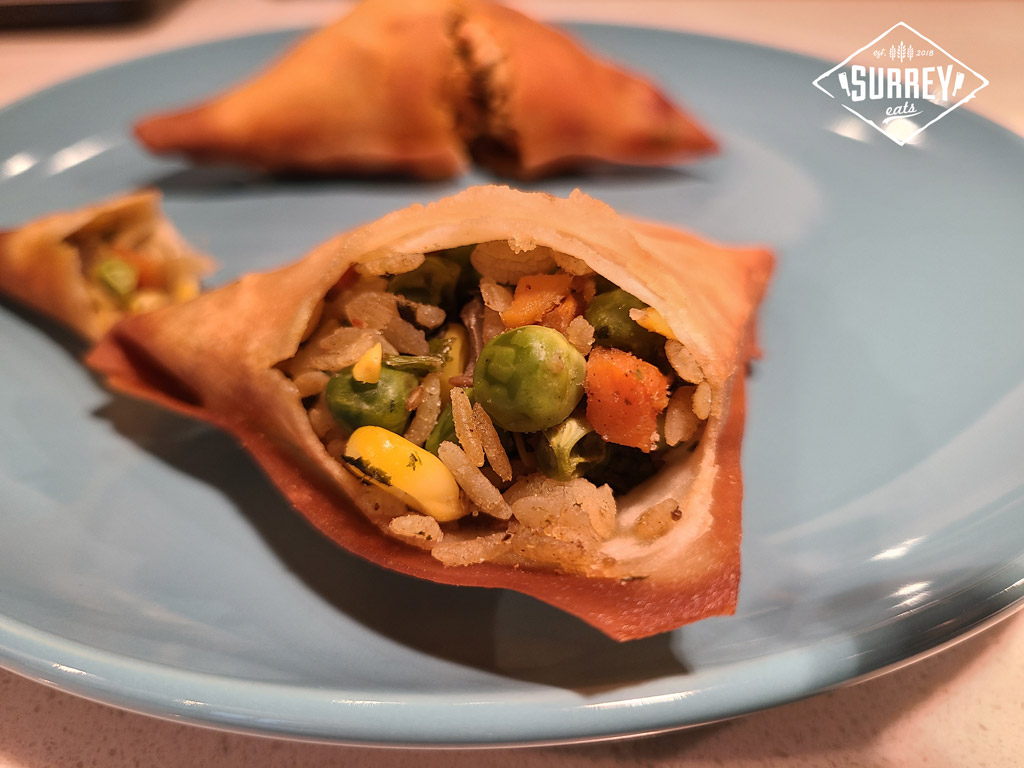 Garden Mix Samosa filled with vegetables, rice, and spice.