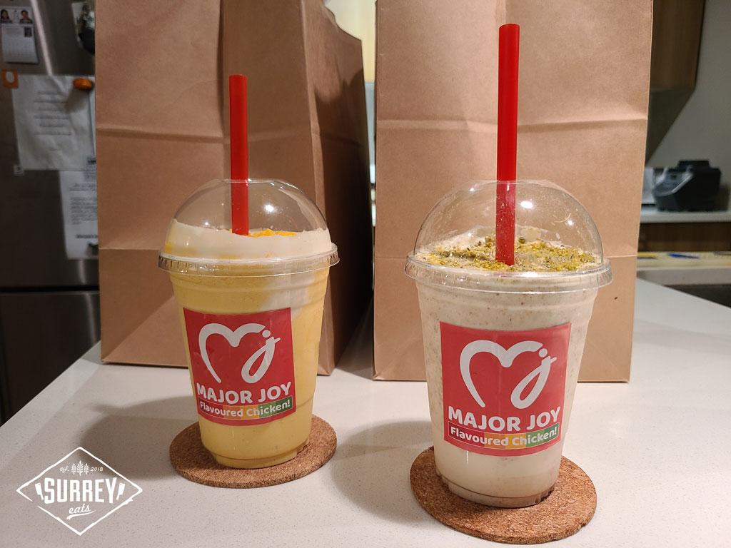 Two Major Joy milkshakes: Kulfi Cream Nut and Real Mango flavoured