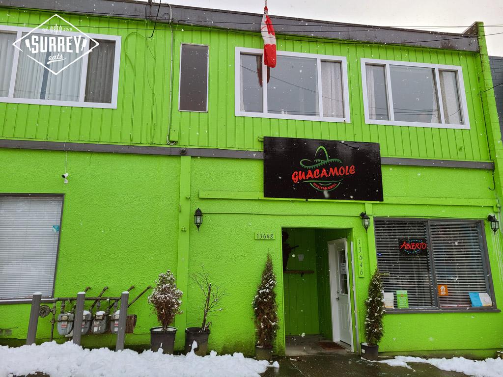 Guacamole Grill's bright green storefront