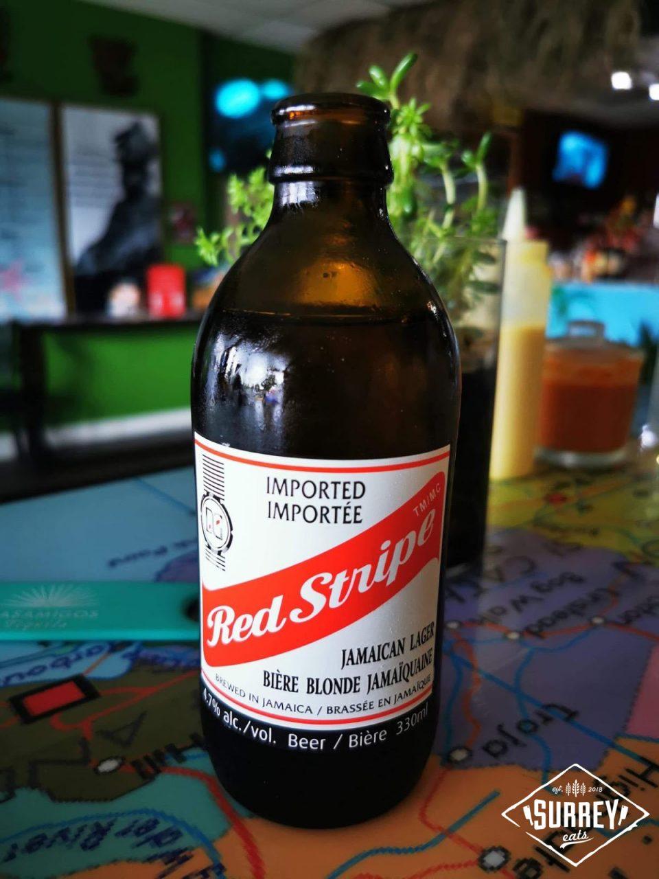 Bottle of red stripe lager beer
