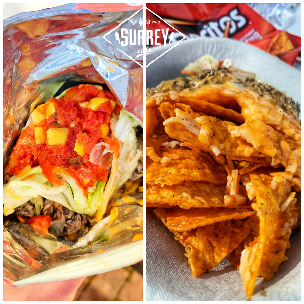 Jerk Chicken Walking Tacos (Nachos). One shot shows them in a Doritos bag with mango salsa topping, the other shows them opened up on a plate.