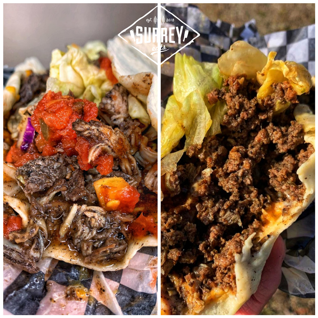 Two tacos from Tommies Jerk: Jerk Chicken and Jerk Beef.