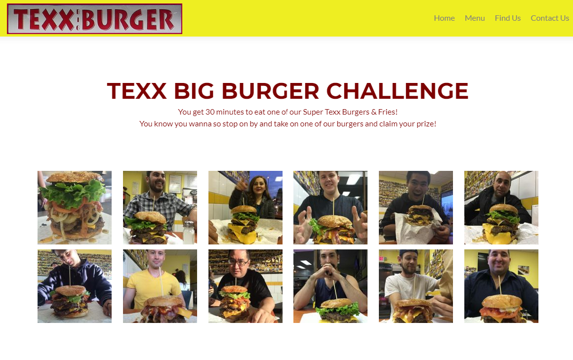 A screenshot from Texx Big Burger's website showing thumbnail pictures of 12 people who accepted the Texx Big Burger challenge