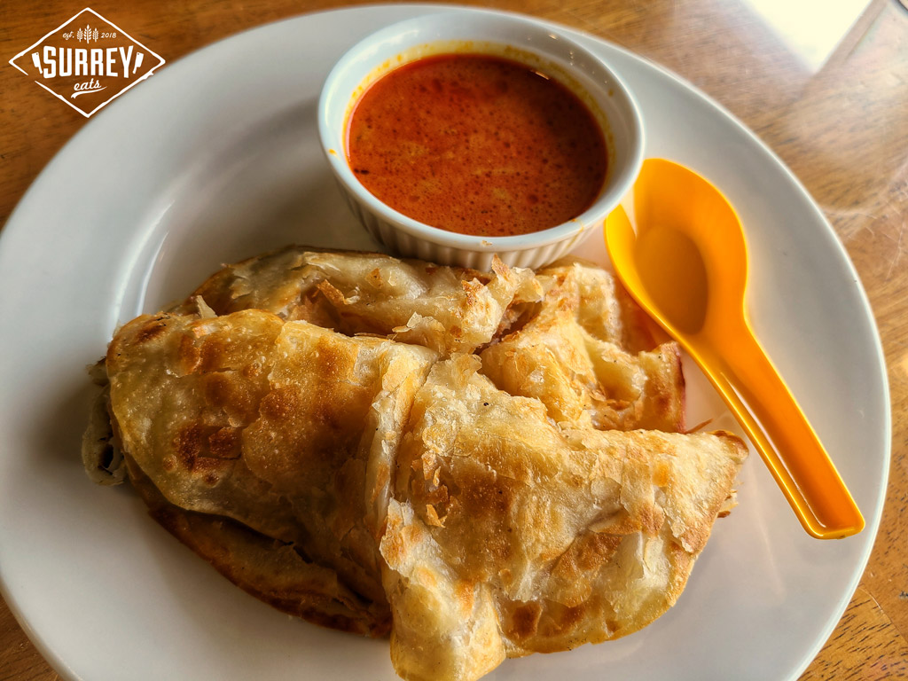 Roti canai with Malay curry sauce at Mek's Delight