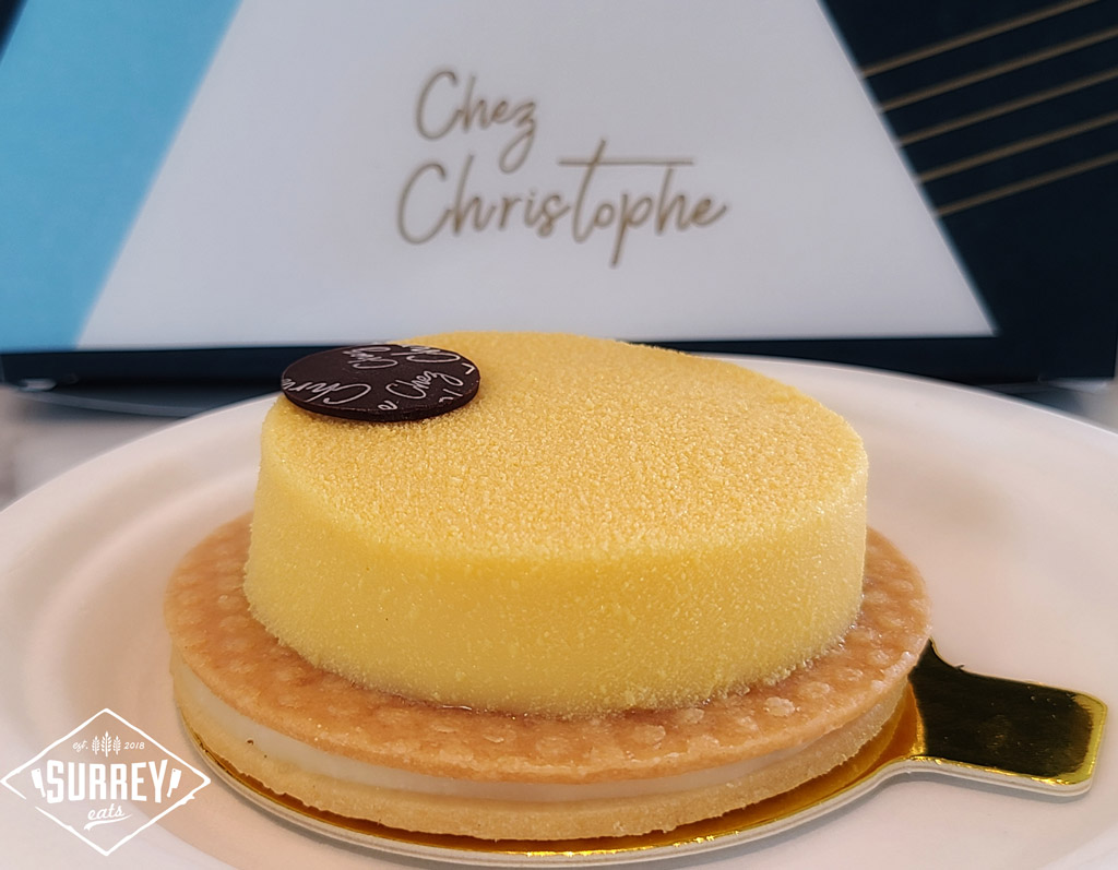 Tart au Citron with the Chez Christophe logo in the background