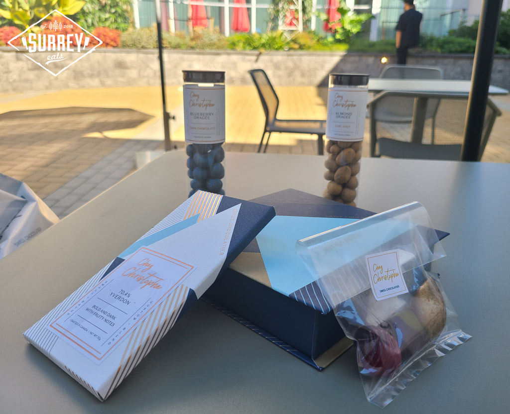 Chez Christophe chocolates on an outdoor table