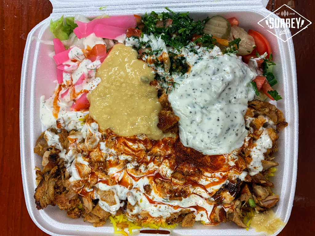 A donair plate with rice